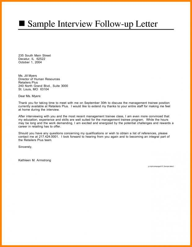 Job Interview Follow Up Email Sample