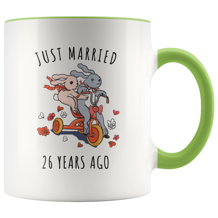 Just Married 26 Years Ago 26th Wedding Anniversary Gift Accent Mug