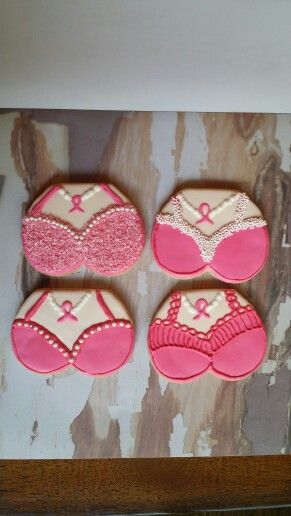 Breast cancer Survivor cookies visit Facebook.com/sugarblissbakerytx to see more of her cute creations!