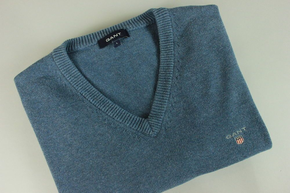 bed194052e91a7 GANT Mens LARGE Thick Blue Cotton V Neck Sweater / Pullover RCS10549  #fashion #clothing #shoes #accessories #mensclothing #sweaters (ebay link)