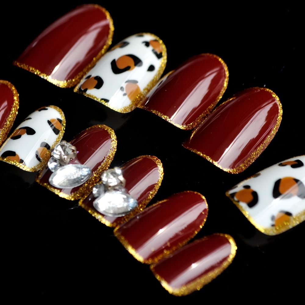 Cat Eye Crystal Press On Nails Pre Designed Red Wine Leopard Short