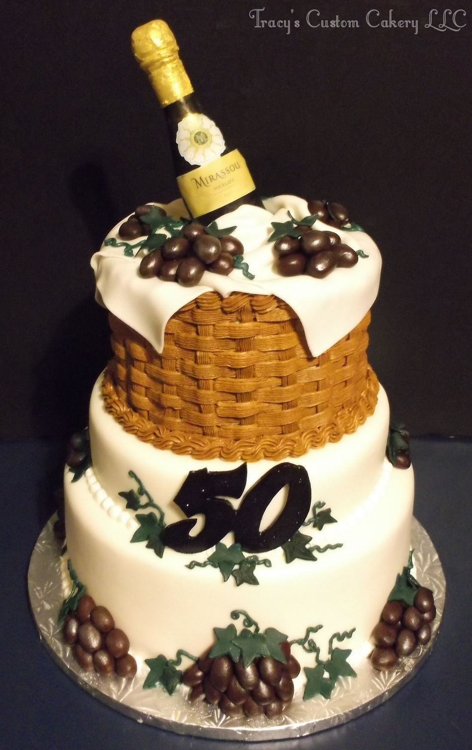 Wine Theme 50th Birthday Cake Milestone Birthday Cakes Pinterest