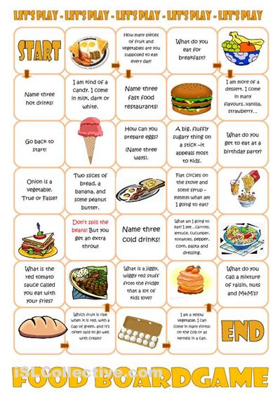 Food Boardgame worksheet - iSLCollective.com - Free ESL worksheets ...