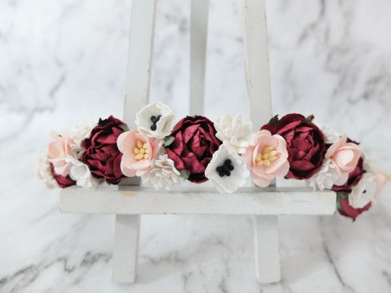 A mix of burgundy marsala red with blush cherry blossoms and white burgundy blush white flower crown wedding floral hair wreath flower headpiece flower hair accessories for girls mightylinksfo Choice Image