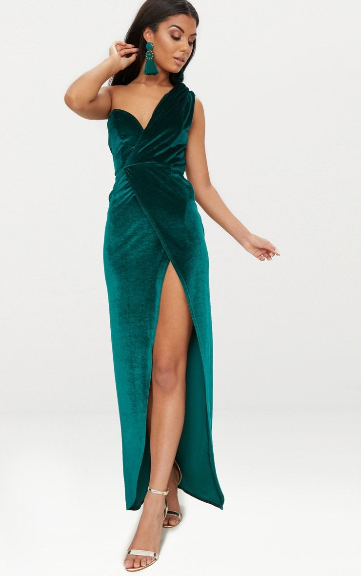 f2a0310f716e4 Emerald Green Velvet Wrap One Shoulder Extreme Split Maxi Dress We are  crushin' on this show stop.