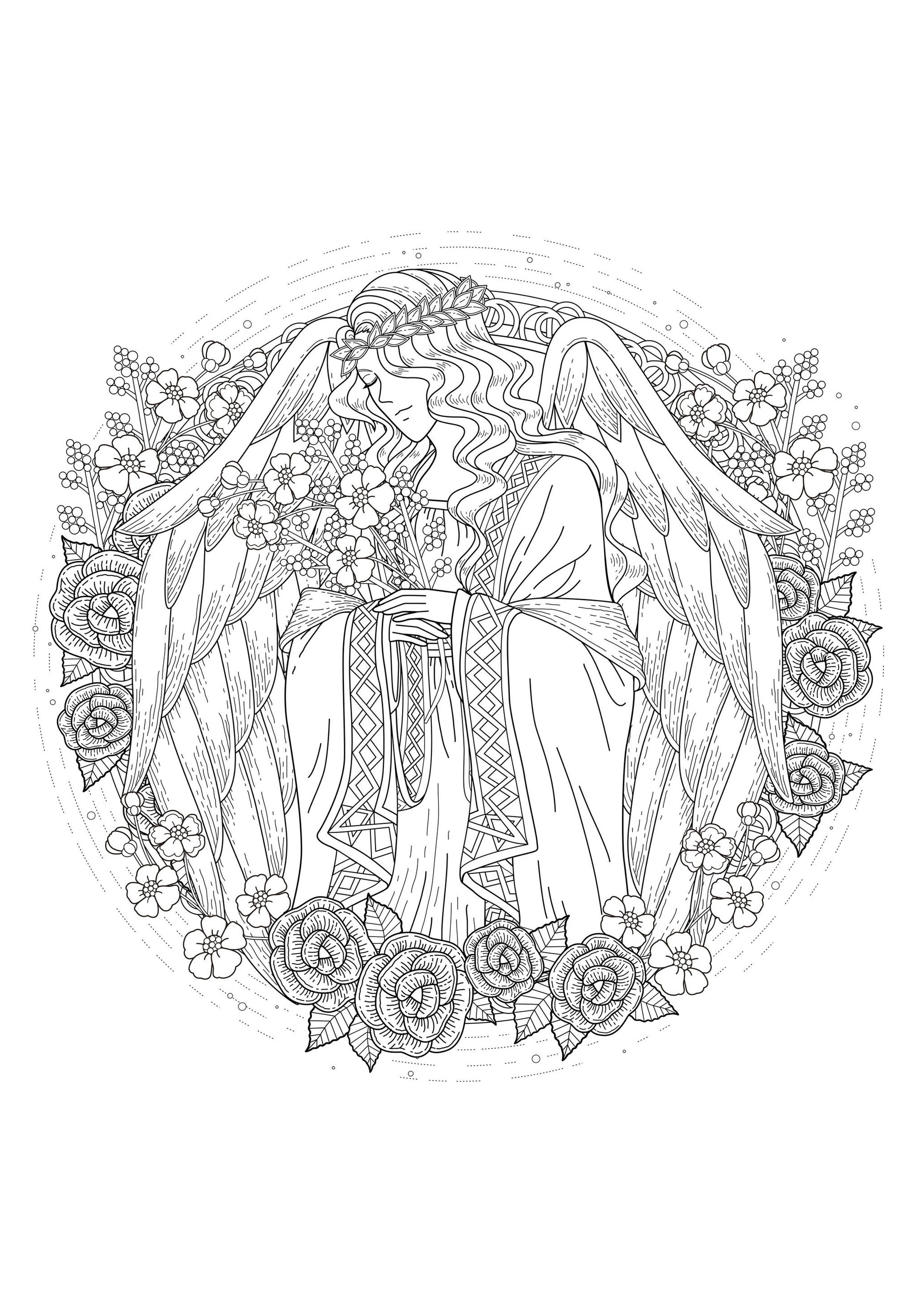 An angel for the coloring, From the gallery : Myths & Legends ...