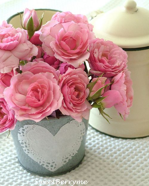 Heart pots and Roses