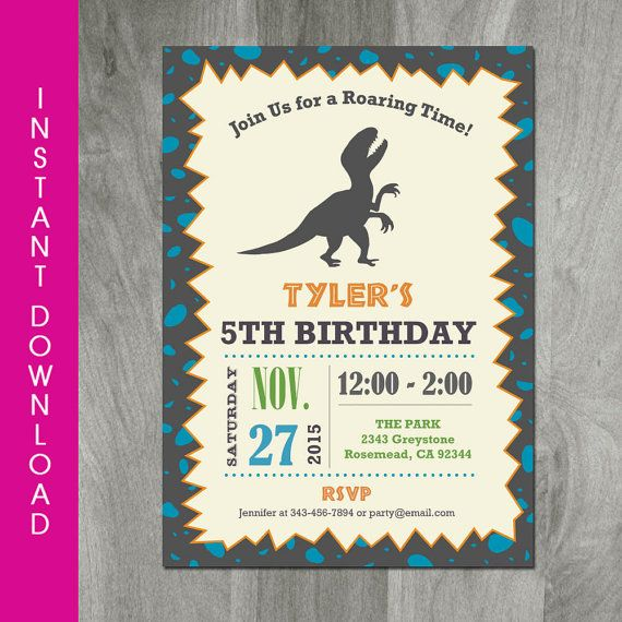 Self editable dinosaur birthday 5x7 invitation instant download t self editable dinosaur birthday invitation by charliesprintables filmwisefo