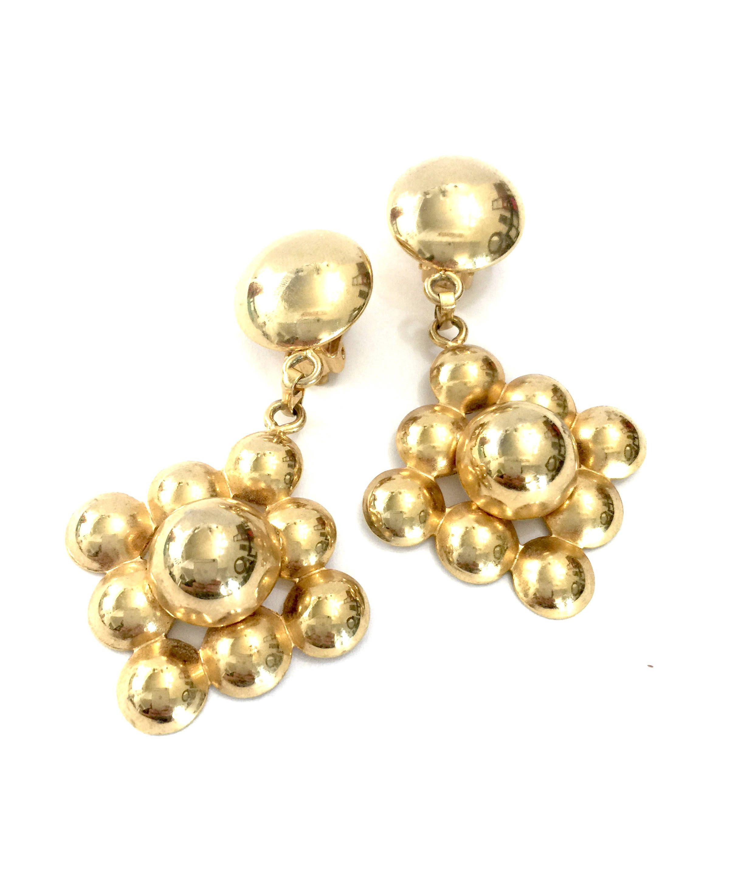 11aada81b Large Modernist Gold Tone Dangle Earrings Measure: Approx. 3 x 1 5/8 ...