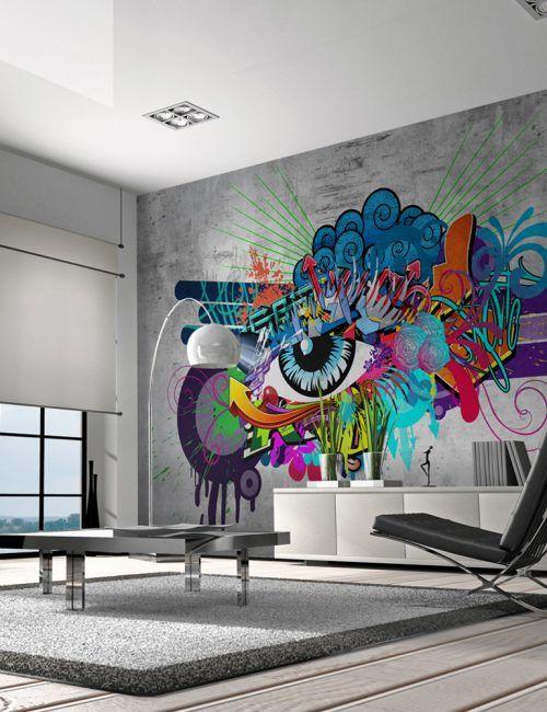 Carta Da Parati Murales.Carta Da Parati Occhio Carta Da Parati Fotomurale Tema Scritte Arte Murale Parete Grafica Murale