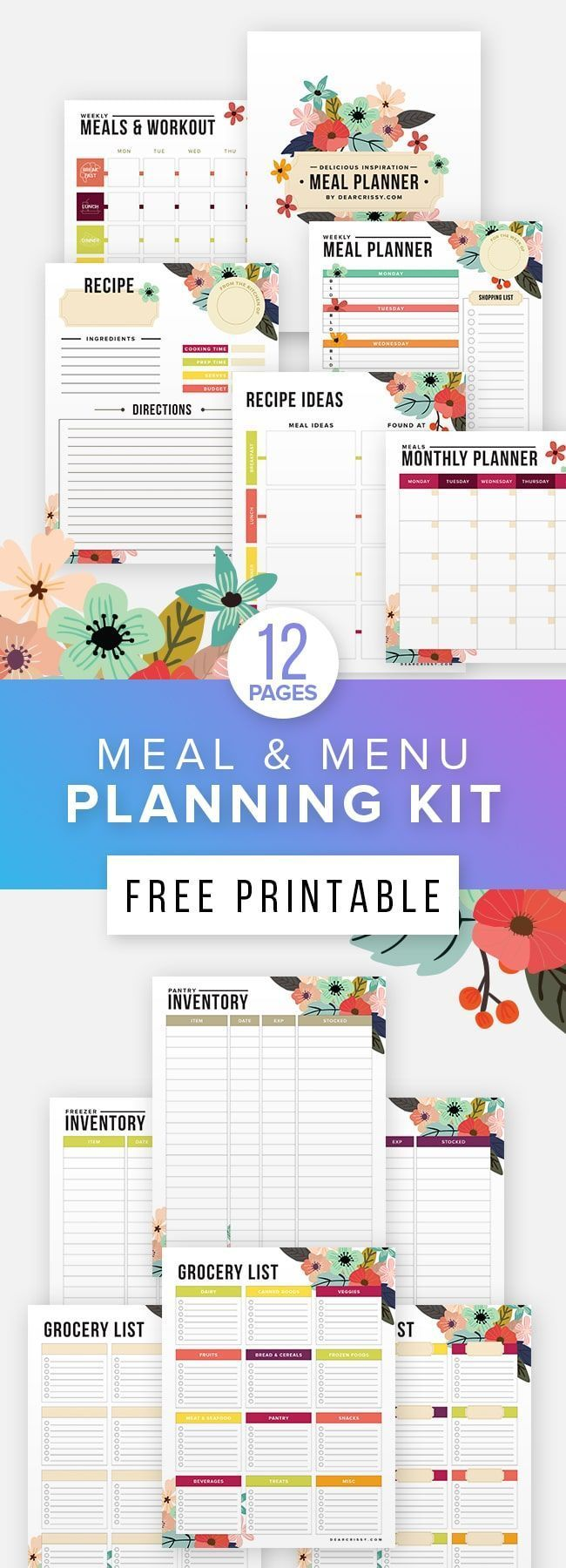 Free Printable Meal Planner & Fitness Planner,  #fitness #Fitnessplanner #free #Meal #Planner #Print...
