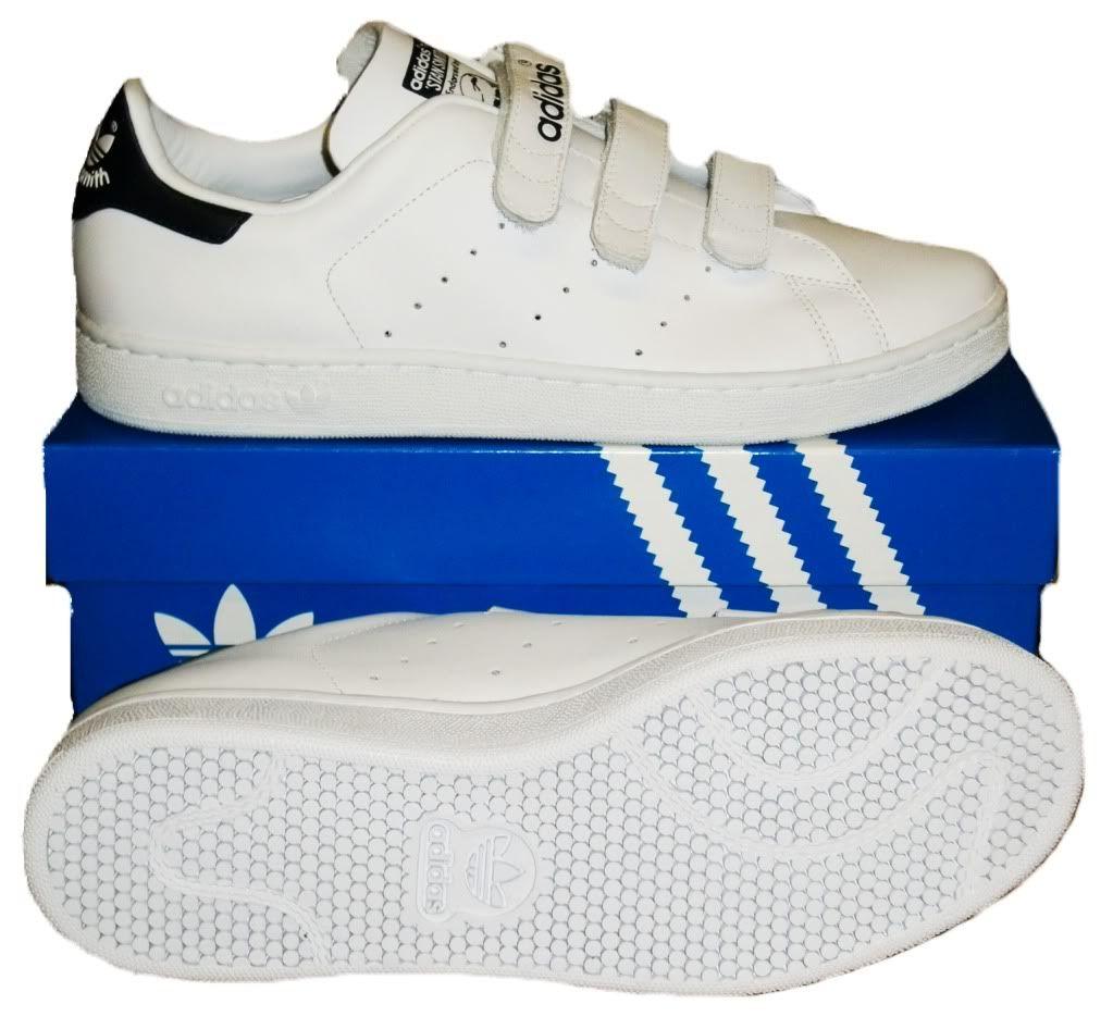 Adidas Stan Smith Comfort Velcro Trainers white Navy   Schoenen