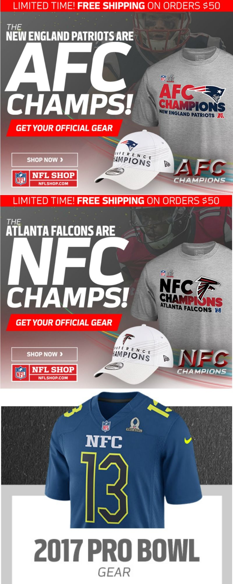 5c0fc24854e13 Get Your Conference Champs Gear and Pro Bowl Gear at NFL Shop. Free  Shipping on