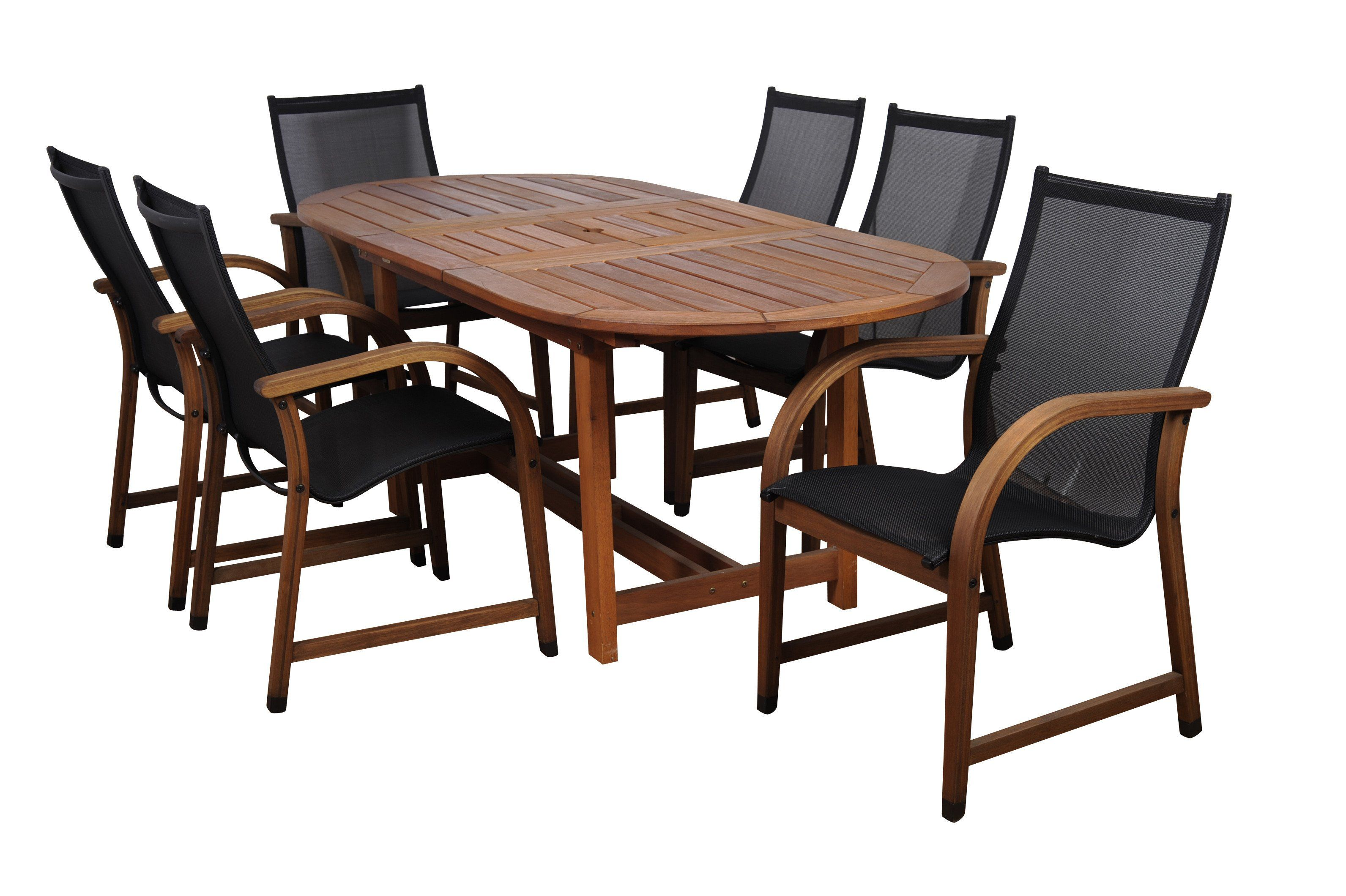 Excellent Bahamas 7 Piece Eucalyptus Extendable Oval Patio Dining Set Inzonedesignstudio Interior Chair Design Inzonedesignstudiocom