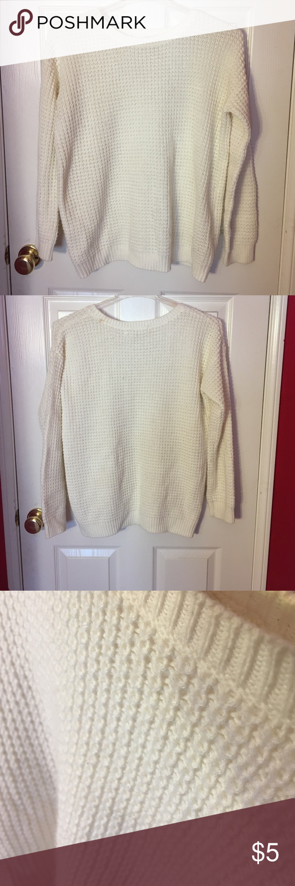 White/Cream Knit Sweater Slouchy white/cream colored knit sweater ...