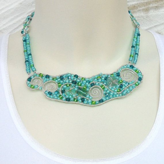 Turquoise Beaded Bib Necklace Sterling Silver Wire Wrapped Jewelry ...