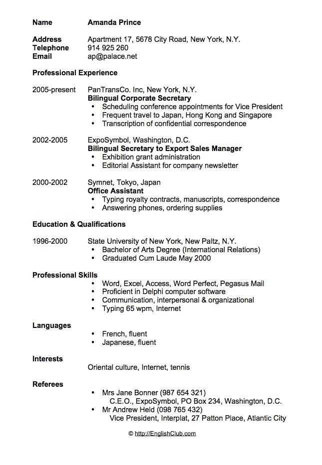 CvResume  Bilingual Secretary  Resume    Sample