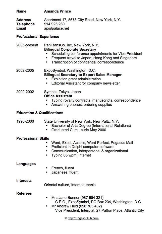 Sample Resume Cv For Secretary Sample Resume Format Cv Resume Sample Resume Template Free