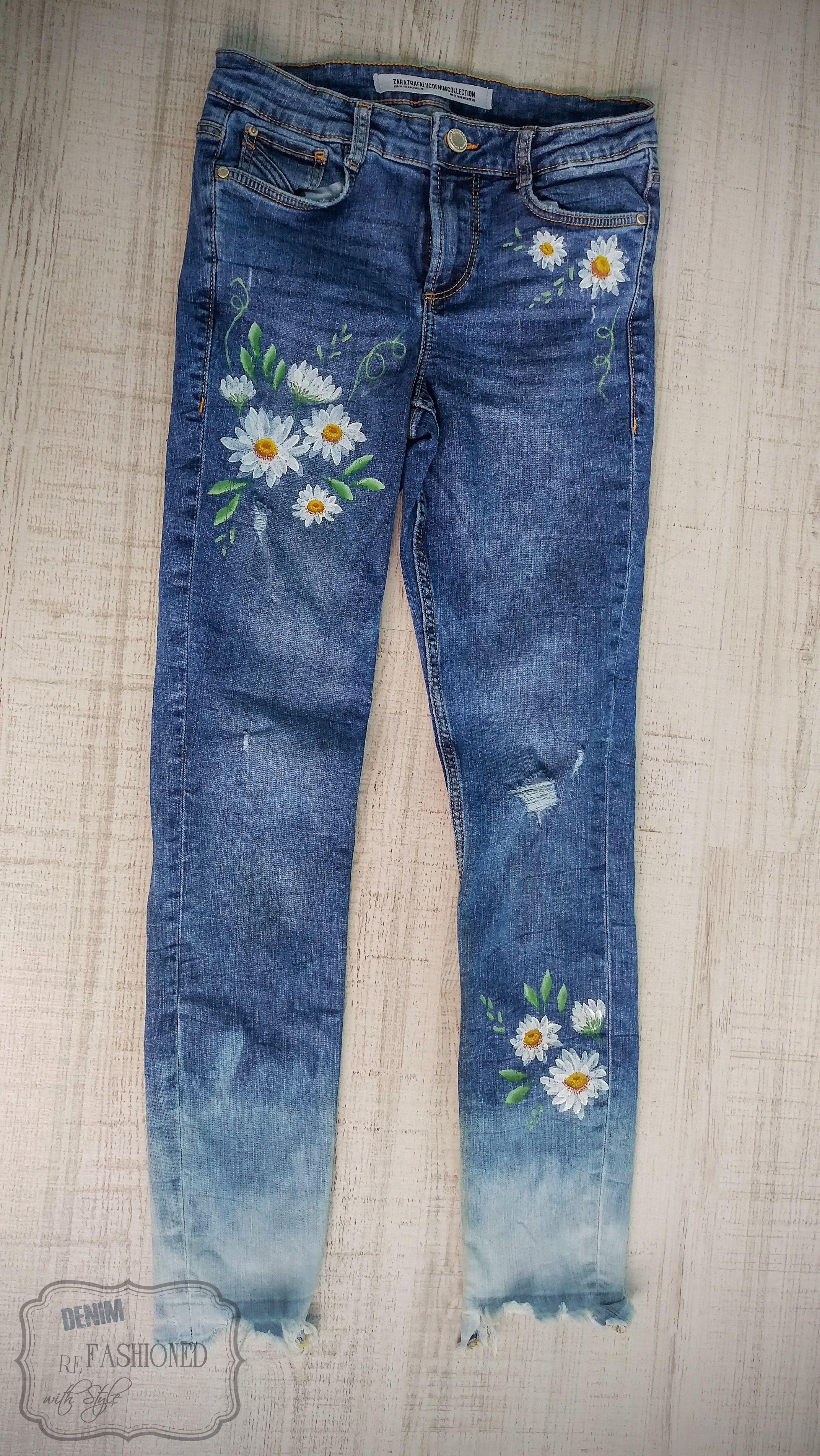 Painted Blue Denim Jeans Daisy Flowers