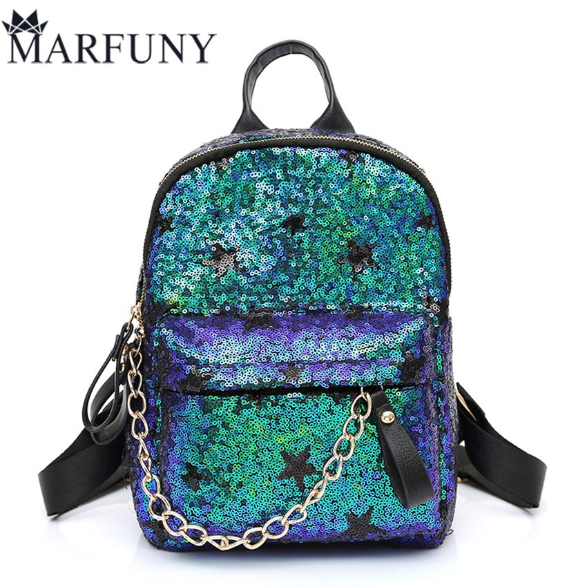 f3f07071ab47 Luxury Sequined Backpack Women Bag Fashion Chains School Bags Shoulder Bags  Cute Stars Backpacks For Teenage Girls 2017 Mochila