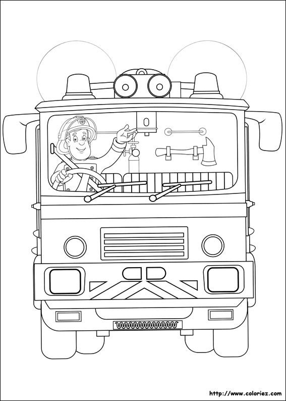 Pin By Pu Muckl On Coloriages Sam Le Pompier Fireman Sam Fireman Truck Coloring Pages