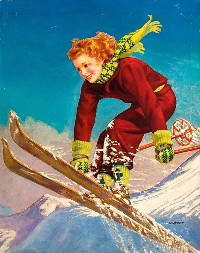 Открытка для горнолыжника