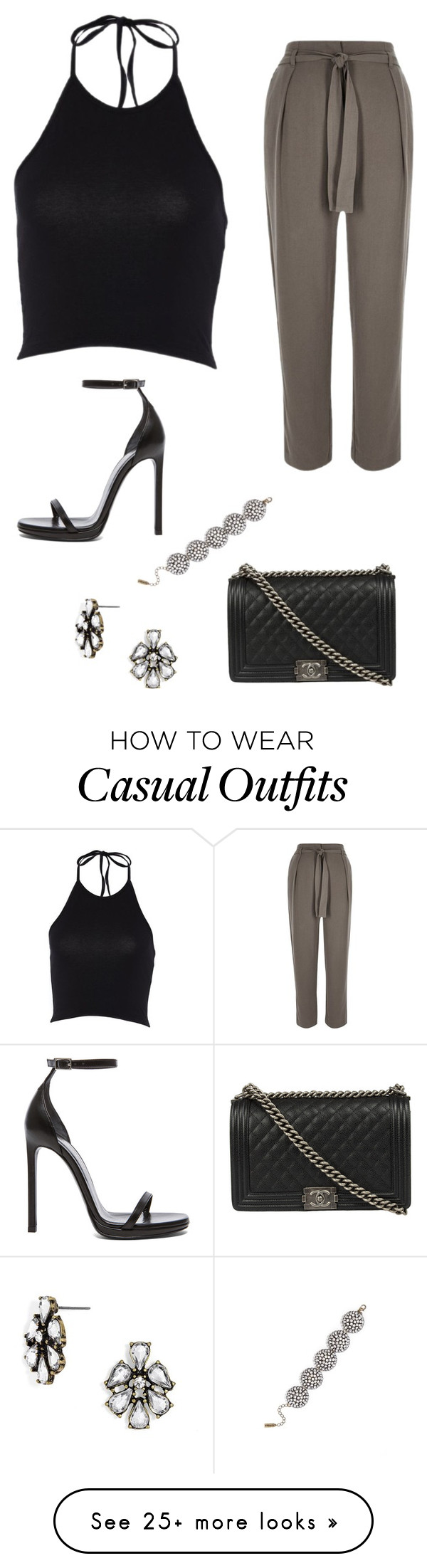 """Khaki tie pants - Casual"" by brittjade on Polyvore featuring River Island, Yves Saint Laurent, BaubleBar and Chanel"