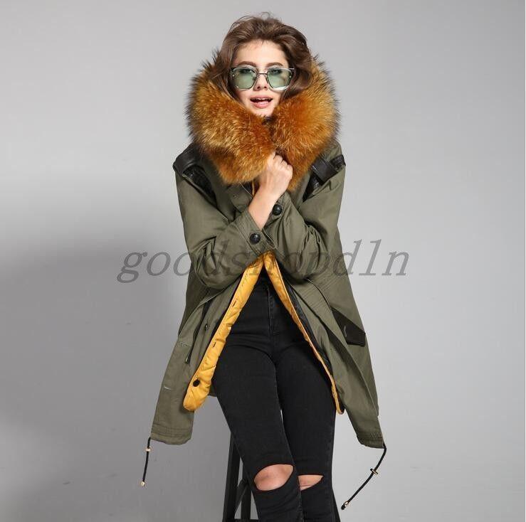 ec77e88ac413 Womens Parka Luxury Fur Hooded Detachable Lined Winter Military Long Coat  Jacket