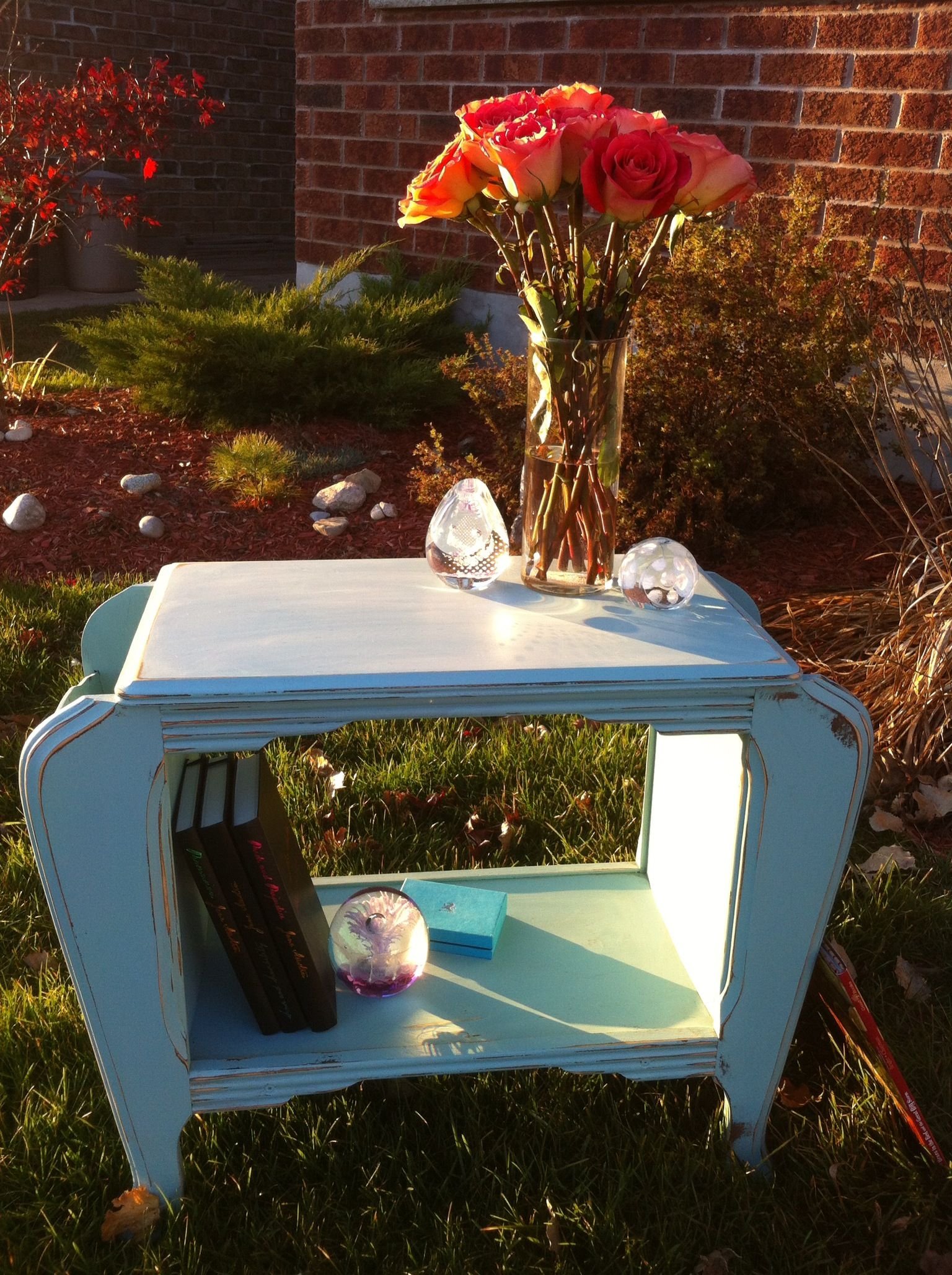 teal magazine rack by Thistle Thatch Designs
