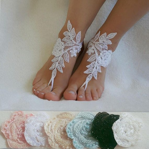 1f0fc58b7 Beach wedding barefoot sandals handmade anklets bangles bridesmaid gifts  embroidered shoes accessories free ship country wedding foot accessory  authentic ...