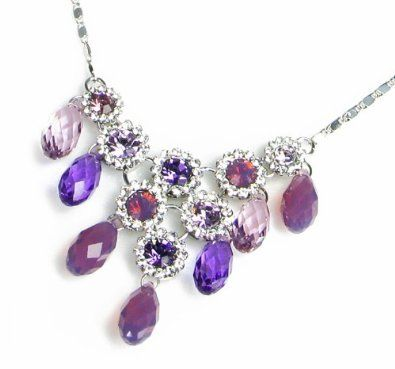Regal Briolette Swarovski Elements Crystal Necklace for Women W 18k White Gold Plated Chain (Purple): Jewelry: Amazon.com
