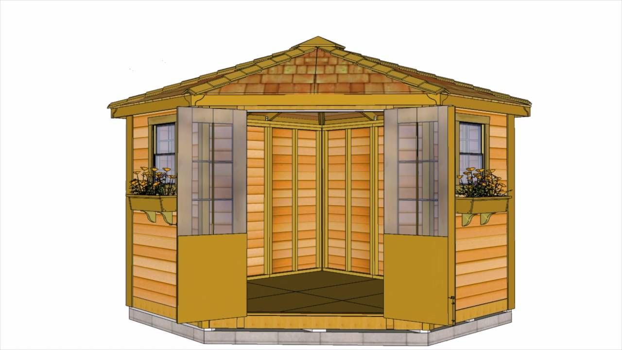 as a poolhouse or deluxe garden shed the penthouse garden shed will add beauty and interest to any garden the unique 5 sided design makes