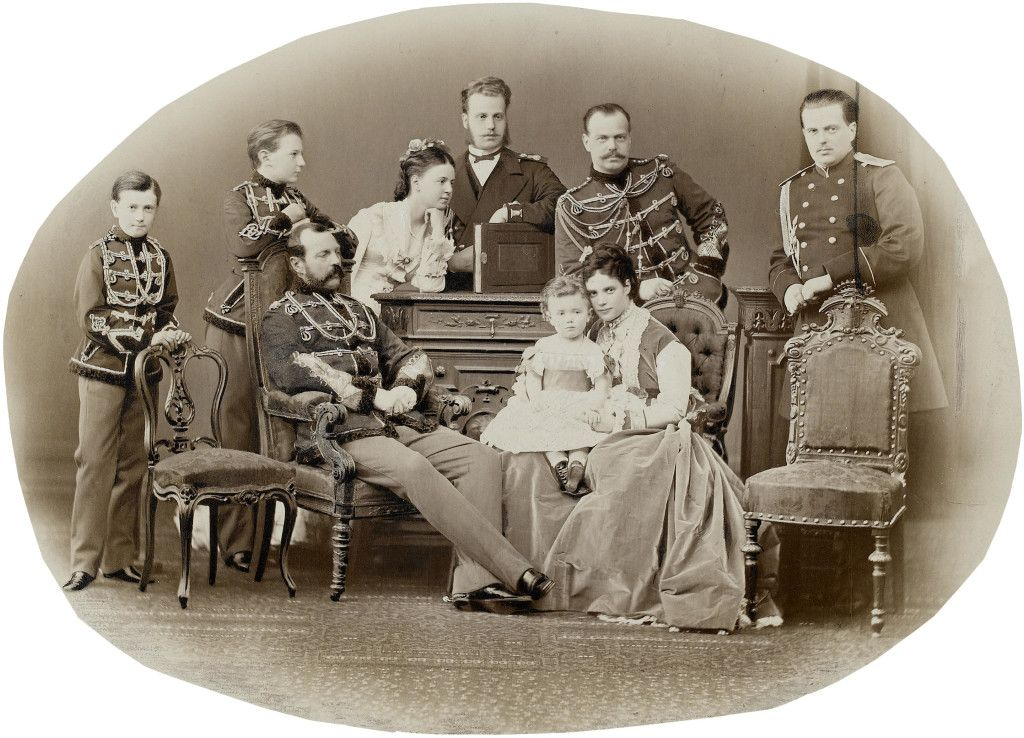 The Romanov family in mid-19th century: Tsar Alexander II, his Heir - the future Alexander III, and baby Nicholas, the future Tsar Nicholas II.