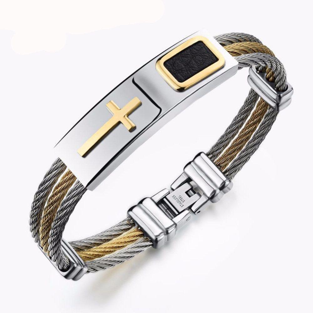 Cross Wire Chain Mens Bracelets - Christian Men Jewelry | Men\'s ...