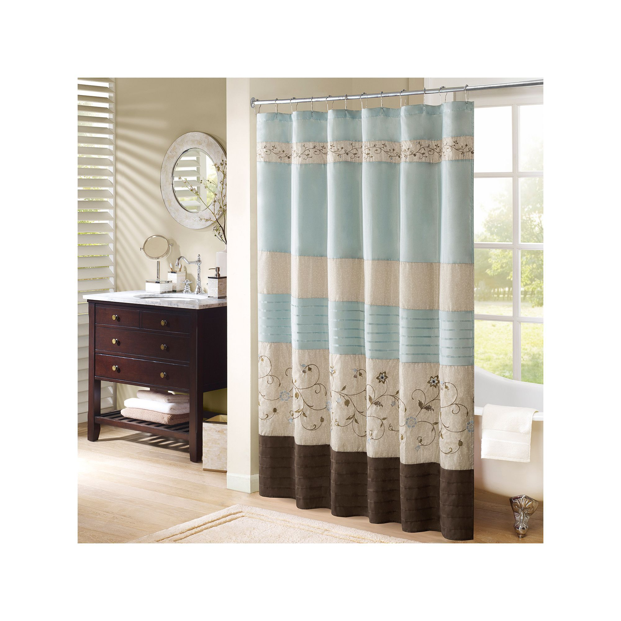 Madison Park Belle Embroidered Floral Shower Curtain, Yellow ...