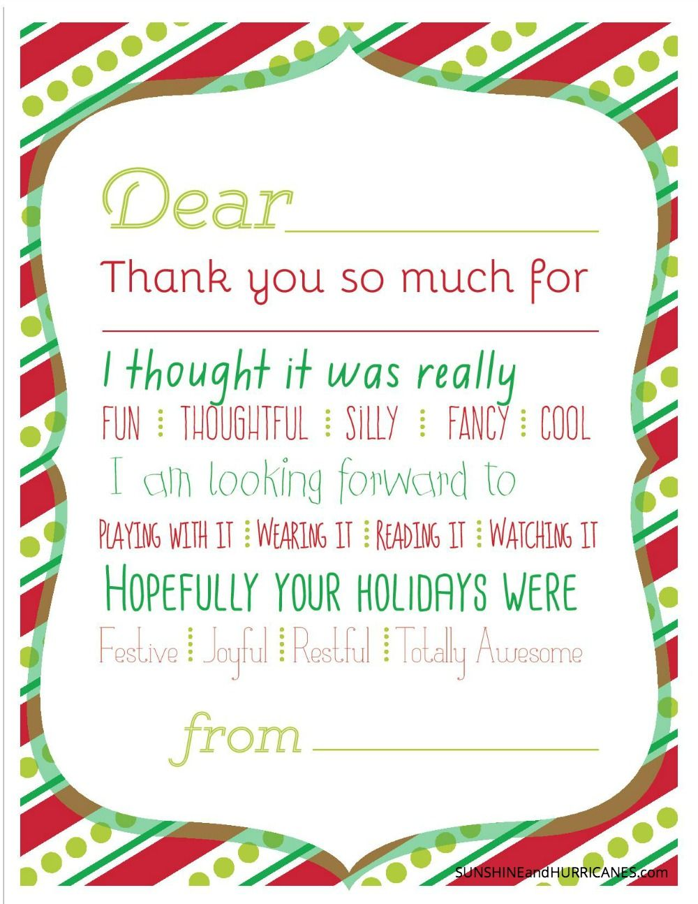 Make Sending Thank You Notes To Friends And Relatives Fun For Your Kids With These Adorable Fill In T Printable Thank You Cards Christmas Thank You Kids Cards