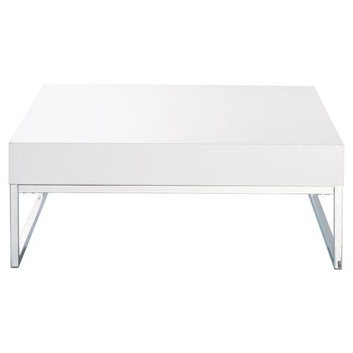 Table Basse En Bois Et Metal Chrome Blanc Laque L 80 Cm Maison Du