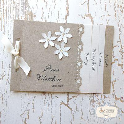 Booklet Style Rustic Vintage Wedding Invitations Devereux Creative Toowoomba Wedding Invitation Ribbon Wedding Invitations Wedding Invitations Australia