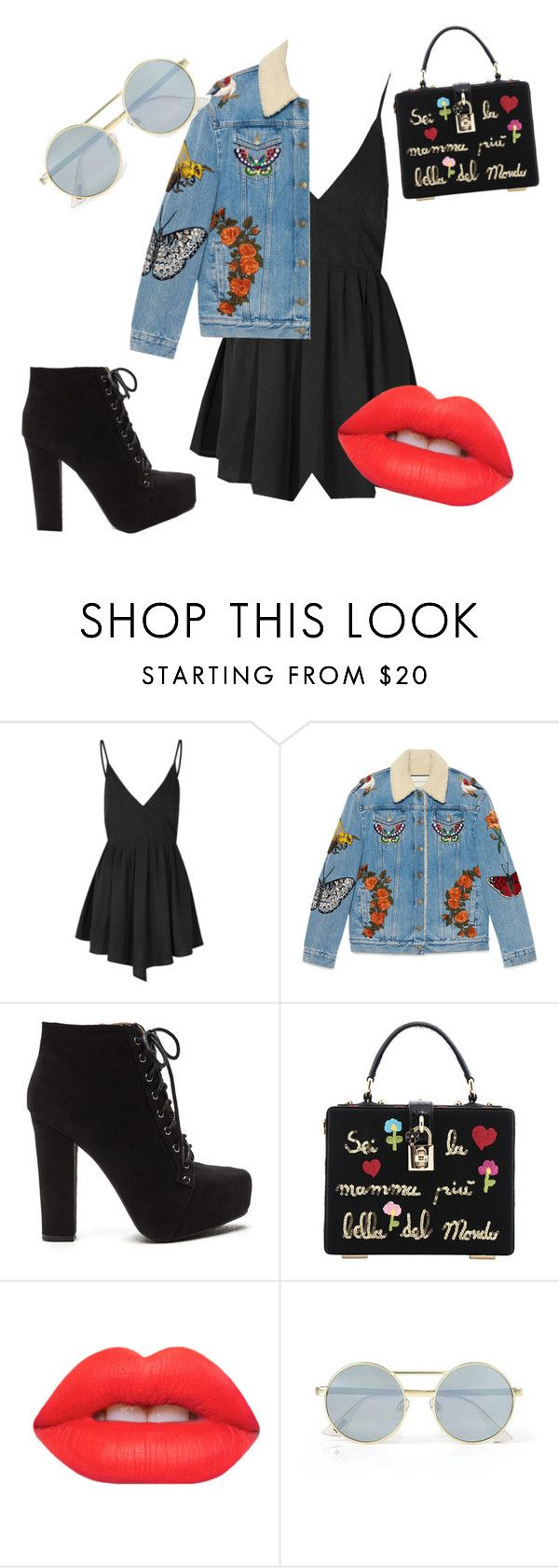 """""""Untitled #9"""" by sofiarhdacruz ❤ liked on Polyvore featuring Glamorous, Gucci, Dolce&Gabbana, Lime Crime and Le Specs"""