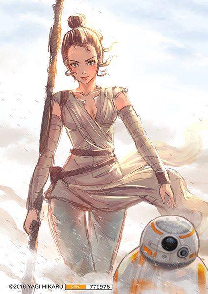 Bb 8 Rey By Yagi Hikaru Star Wars Painting Rey Star Wars