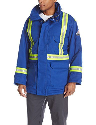 Bulwark Flame Resistant 7 oz Twill Cotton/Nylon Excel FR ComforTouch Regular Deluxe Parka with Reflective Trim with Fully Insulated Stand-up Collar, Knit Storm Cuff, Royal Blue
