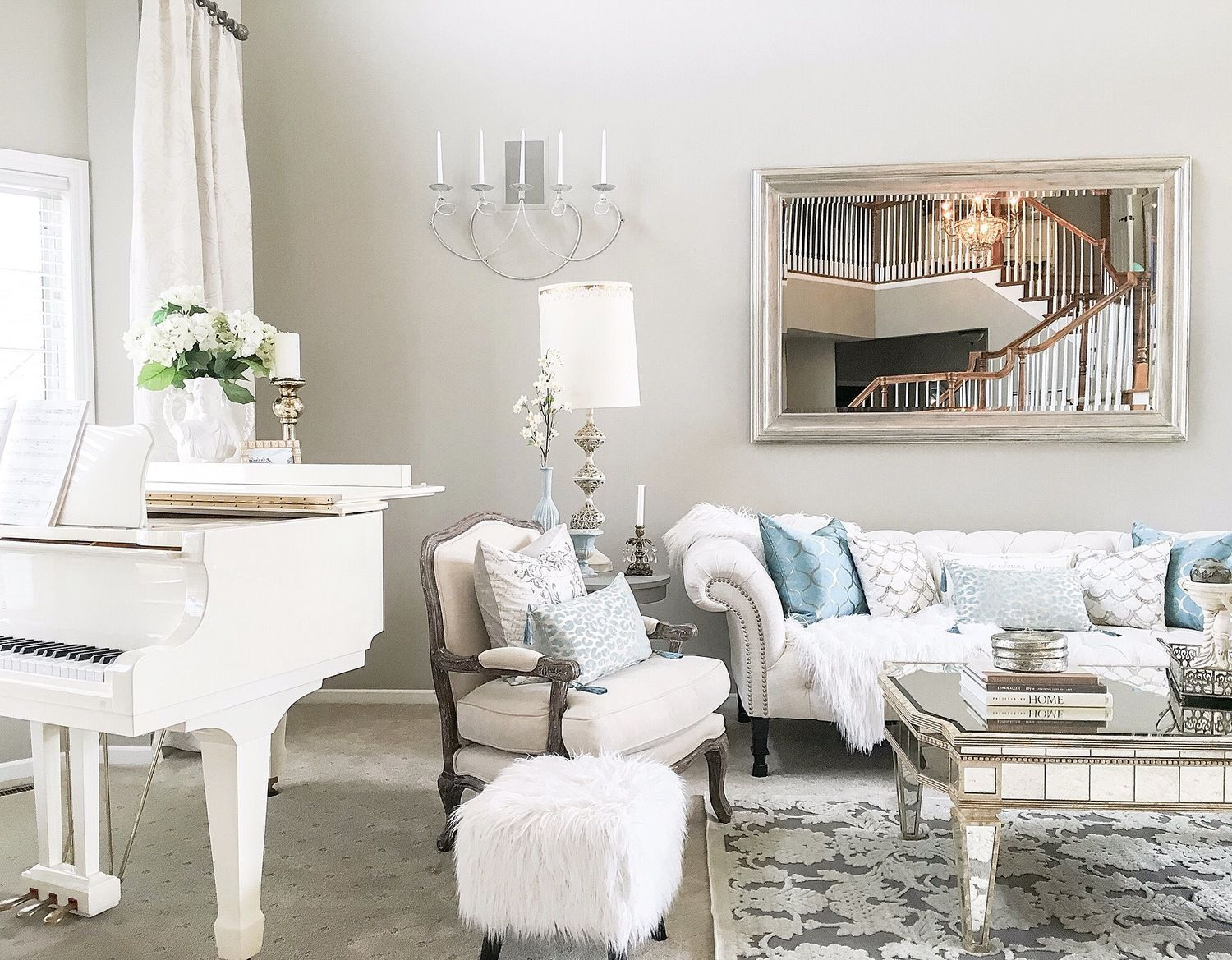 White Baby Grand Piano In Living Room Grand Piano Living Room