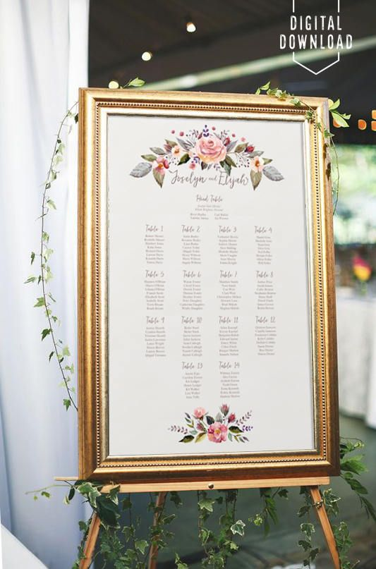Diy seating chart ideas for your wedding reception also floral printable rh pinterest