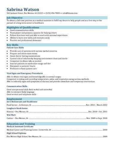 Functional-Resume-for-medical-assisting-field job Medical