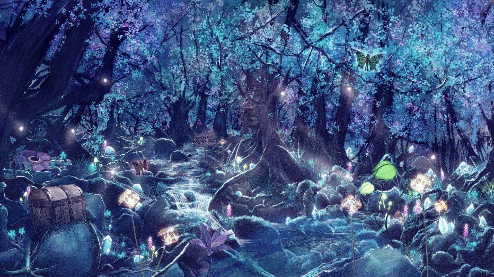 Fantasy Forest Blue Steam Flower Butterfly Wallpaper
