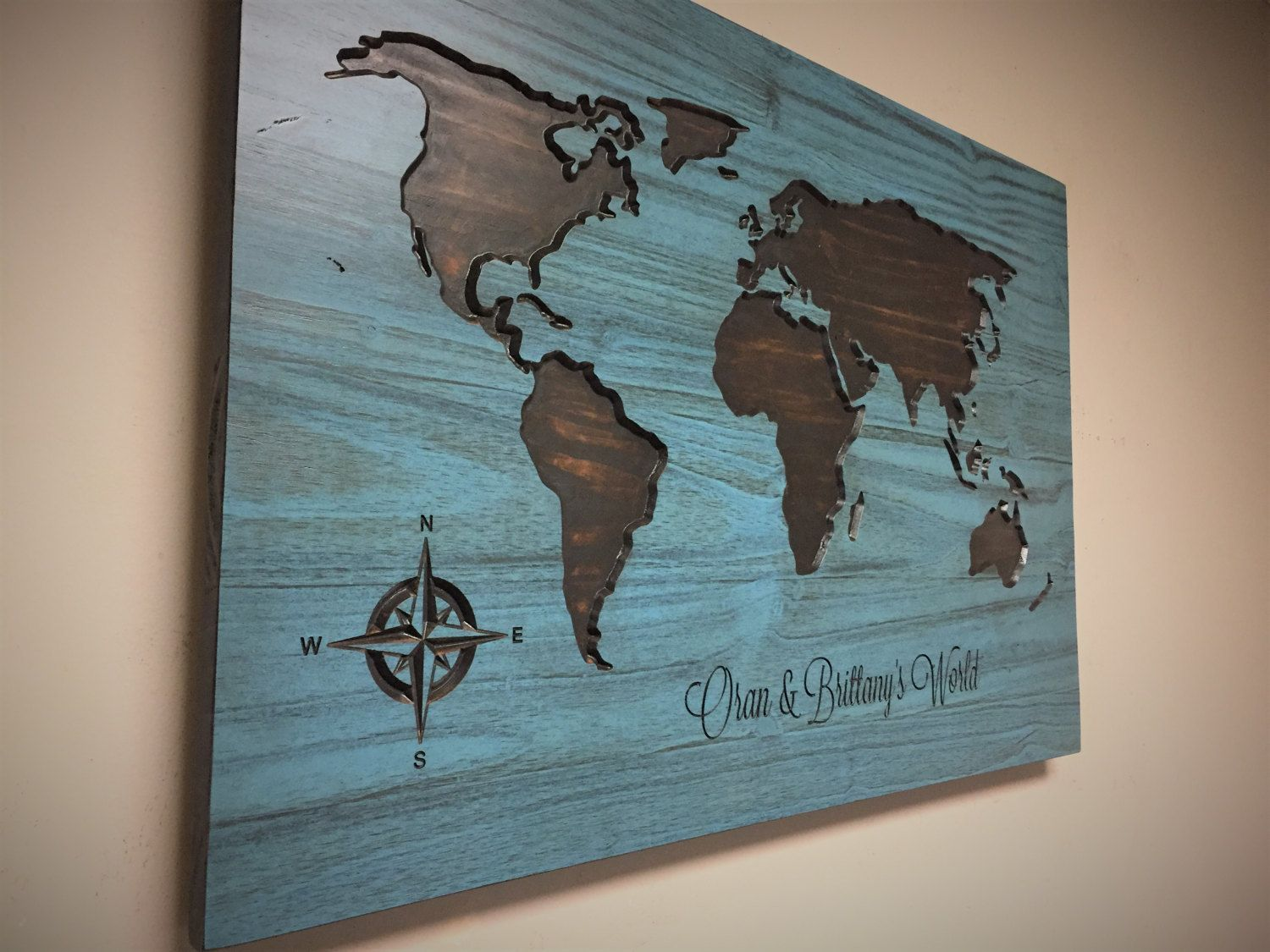 World map wall art family name sign wedding gift wedding world map wall art family name sign wedding gift wedding guestbook idea carved hand painted hand stained map gumiabroncs Image collections