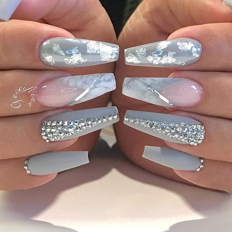 Blush Pink White Silver And Grey Nails Gorgeous Nails Nail Designs Bling Nails