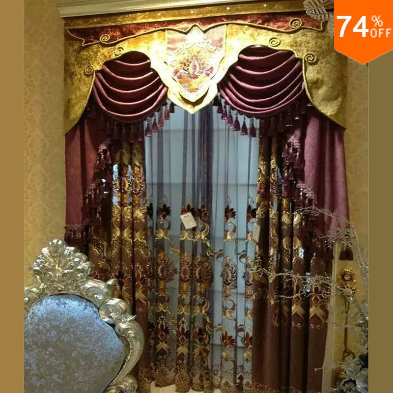 find more curtains information about 2016 purple embroidery golden