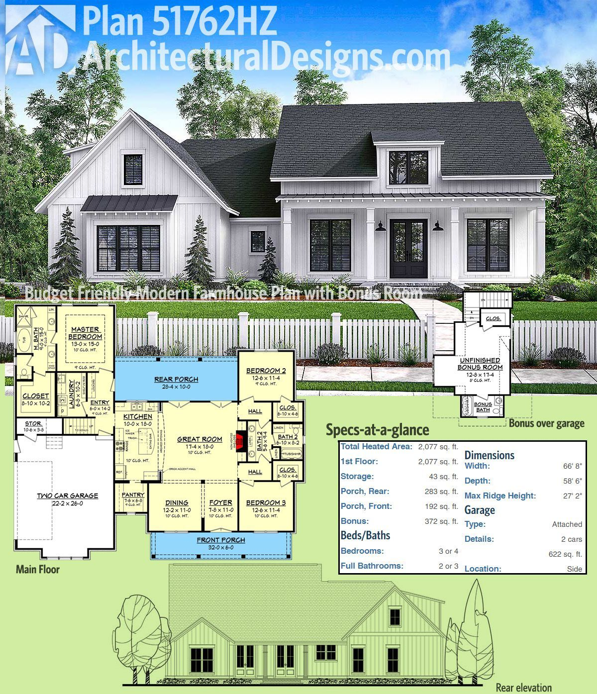 Architectural Designs Modern Farmhouse Plan 51762HZ Gives