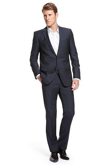 Astro/Hill |  Modern Fit, Virgin Wool Suit , Dark Blue